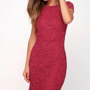 Lulu's Wine Red Lace Formal Dress